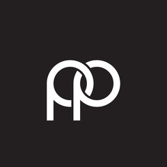 Initial lowercase letter pp, overlapping circle interlock logo, white color on black background