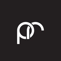Initial lowercase letter pr, overlapping circle interlock logo, white color on black background