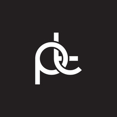 Initial lowercase letter pt, overlapping circle interlock logo, white color on black background