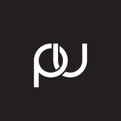 Initial lowercase letter pu, overlapping circle interlock logo, white color on black background
