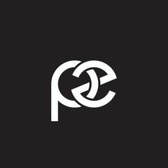 Initial lowercase letter pz, overlapping circle interlock logo, white color on black background