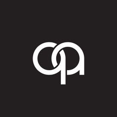 Initial lowercase letter qa, overlapping circle interlock logo, white color on black background