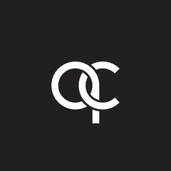 Initial lowercase letter  qc, overlapping circle interlock logo, white color on black background