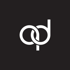 Initial lowercase letter qd, overlapping circle interlock logo, white color on black background
