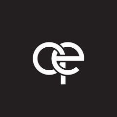 Initial lowercase letter qe , overlapping circle interlock logo, white color on black background