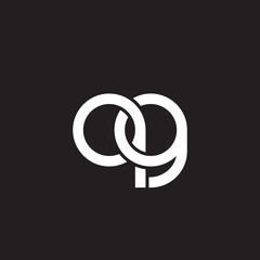 Initial lowercase letter qg, overlapping circle interlock logo, white color on black background