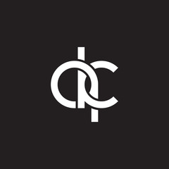 Initial lowercase letter qk, overlapping circle interlock logo, white color on black background