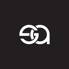 Initial lowercase letter sa, overlapping circle interlock logo, white color on black background