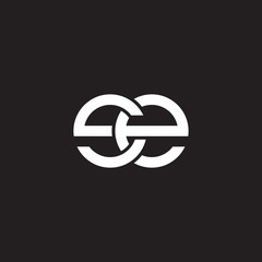 Initial lowercase letter se, overlapping circle interlock logo, white color on black background