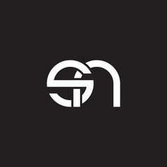 Initial lowercase letter sn, overlapping circle interlock logo, white color on black background
