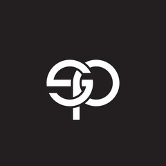 Initial lowercase letter sp, overlapping circle interlock logo, white color on black background