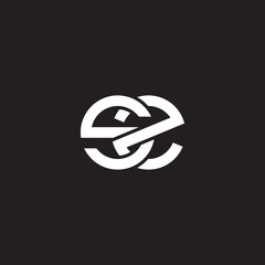 Initial lowercase letter sz, overlapping circle interlock logo, white color on black background