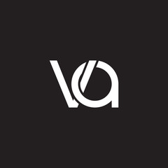 Initial lowercase letter va, overlapping circle interlock logo, white color on black background
