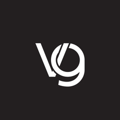 Initial lowercase letter vg, overlapping circle interlock logo, white color on black background