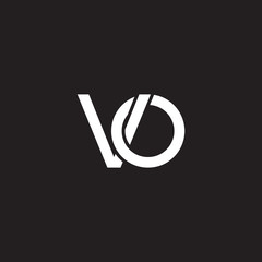 Initial lowercase letter vo, overlapping circle interlock logo, white color on black background