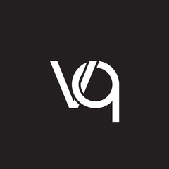 Initial lowercase letter vq, overlapping circle interlock logo, white color on black background