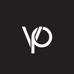 Initial lowercase letter vp, overlapping circle interlock logo, white color on black background