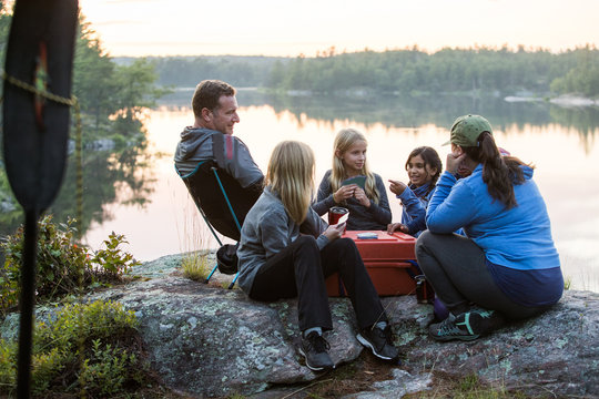 Kids playing during a family camping trip