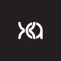 Initial lowercase letter xa, overlapping circle interlock logo, white color on black background