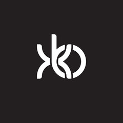 Initial lowercase letter xb, overlapping circle interlock logo, white color on black background