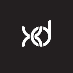 Initial lowercase letter xd, overlapping circle interlock logo, white color on black background