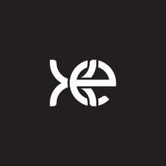 Initial lowercase letter xe, overlapping circle interlock logo, white color on black background