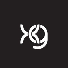 Initial lowercase letter xg, overlapping circle interlock logo, white color on black background
