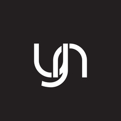 Initial lowercase letter yn, overlapping circle interlock logo, white color on black background