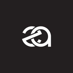 Initial lowercase letter za, overlapping circle interlock logo, white color on black background