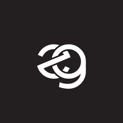 Initial lowercase letter zg, overlapping circle interlock logo, white color on black background