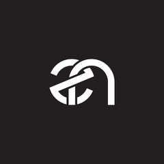 Initial lowercase letter zn, overlapping circle interlock logo, white color on black background