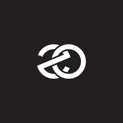 Initial lowercase letter zo, overlapping circle interlock logo, white color on black background