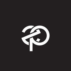 Initial lowercase letter zp overlapping circle interlock logo, white color on black background
