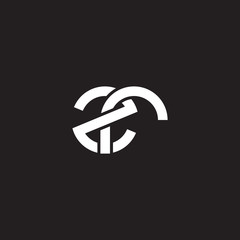 Initial lowercase letter zr, overlapping circle interlock logo, white color on black background