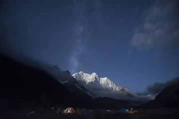 Tsoshutrima camp under the blue night sky