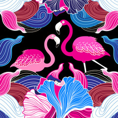 Pink flamingos and abstraction