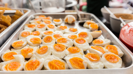 Selective soft focus. Group of Boiled egg on plate.