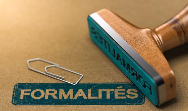Mot Formalités ou Démarches Administratives sur Fond Papier Kraft