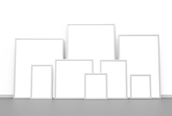 Mockup of photo or poster frames with soft shadows and highlights. 3D illustrating