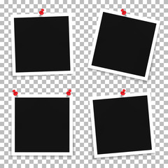 Vector set of photo frame templates with pins on a transparent background