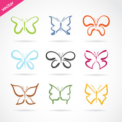 Vector group of hand drawn butterfly on white background. Butterfly icon. Insect. Animal.