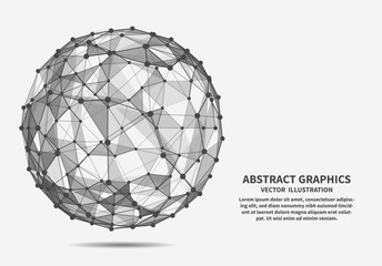 Sphere, vector illustration. Network connections.