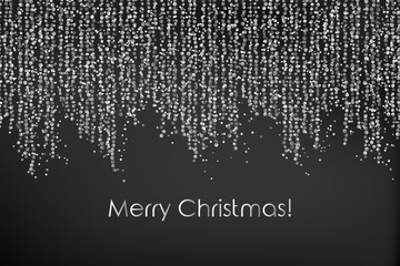 Merry Christmas illustration with falling down string lights, circle confetti, festoon, garland, tinsel ribbon, vertical spangels, sparkle dots on dark background.