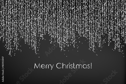 Merry Christmas Illustration With Falling Down String Lights Circle Confetti Festoon Garland