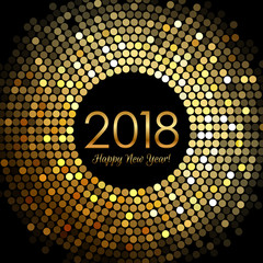 Vector - Happy New Year 2018 - gold disco lights frame