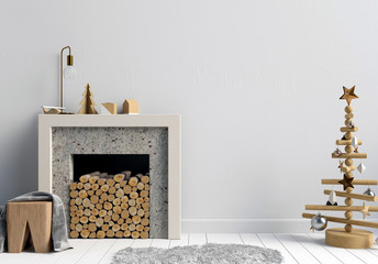 Modern Christmas interior with a decorative fireplace, Scandinavian style. 3D illustration. wall mock up