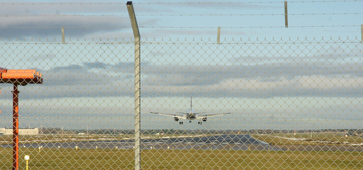 Passinger jet landing at doncaster Airport, UK