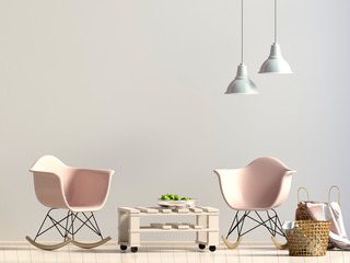 Modern interior with plastic chair. Wall mock up. 3d illustration.