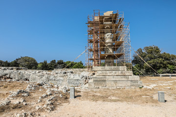 Ruins of the Temple of Apollo in the Acropolis of Rhodes, Greece