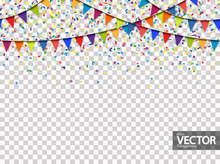 seamless garland and confetti background with vector transparency
